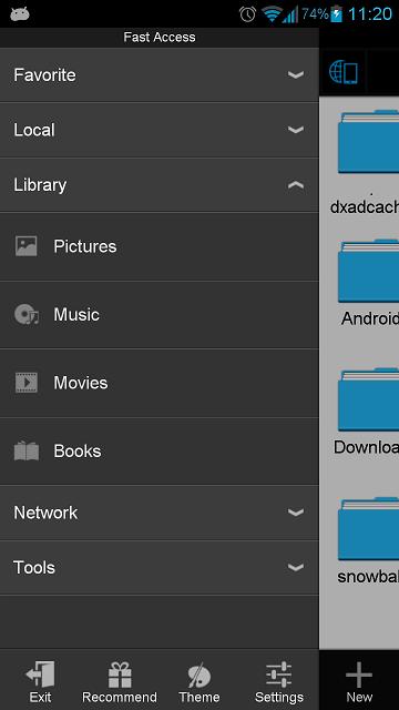 Ahora ES File Explorer incorpora otras novedades muy interesantes como la nueva navegación entre pestañas (podemos movernos entre ellas con gestos táctiles hacia el costado), la mayor presencia de la nube y facilidad para subir archivos, integración con redes sociales, posibilidad de enviar archivos a través de Wifi Send, opciones para ordenar carpetas y archivos y más opciones de vista para ellos (9 en total).                Por su parte, la navegación sigue siendo similar aunque ahora presenta una jerarquía de directorios y archivos por los que